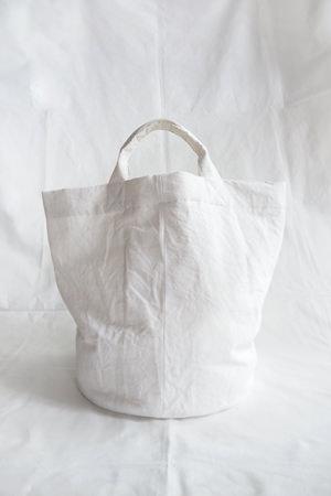 Round Bottom Cotton Linen Bag White