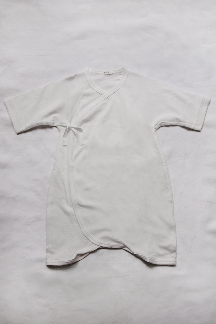 Hadagi 6m, a white kimono style wrap onesie for 6 month old 01.