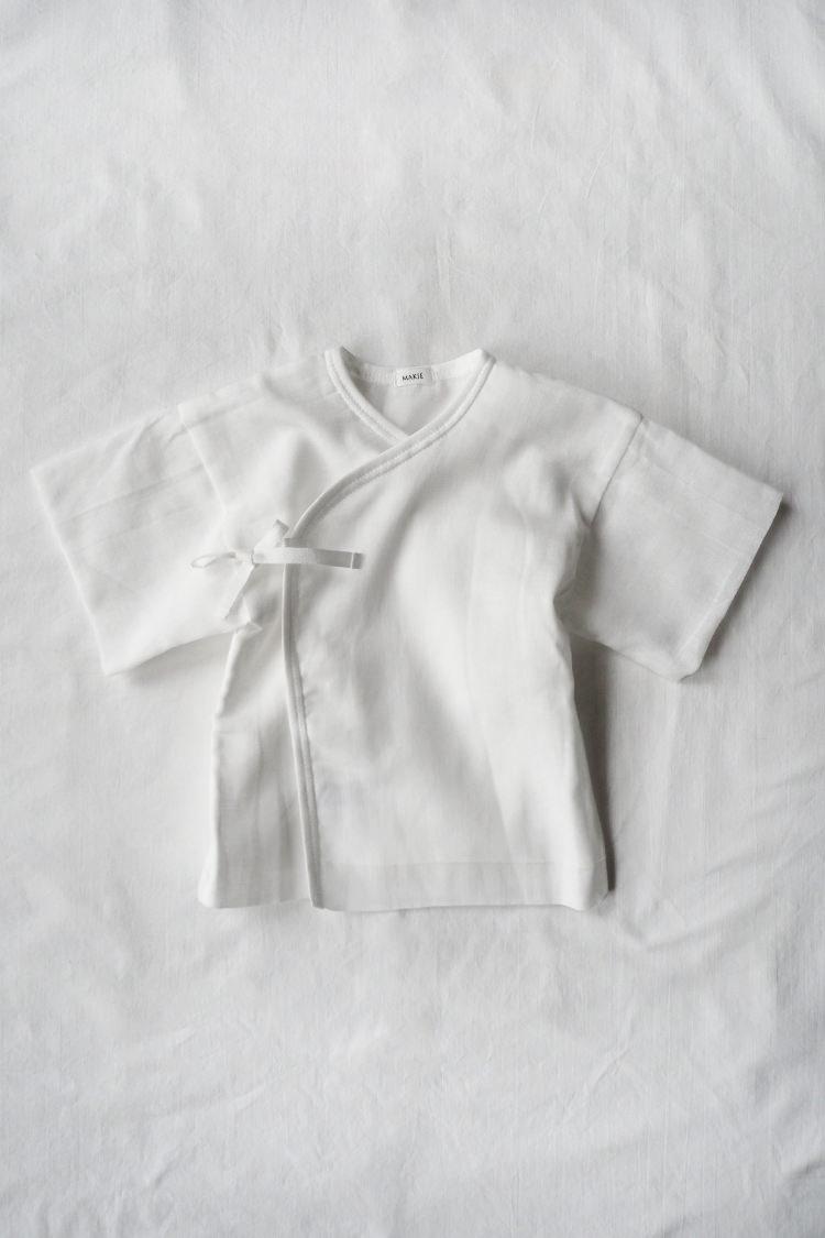 Gauze Kimono, a unisex kimono robe for baby. Front.