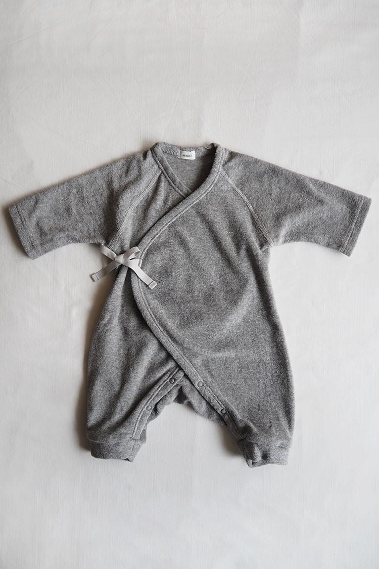 Pile first Hadagi, a gray kimono style wrap onesie