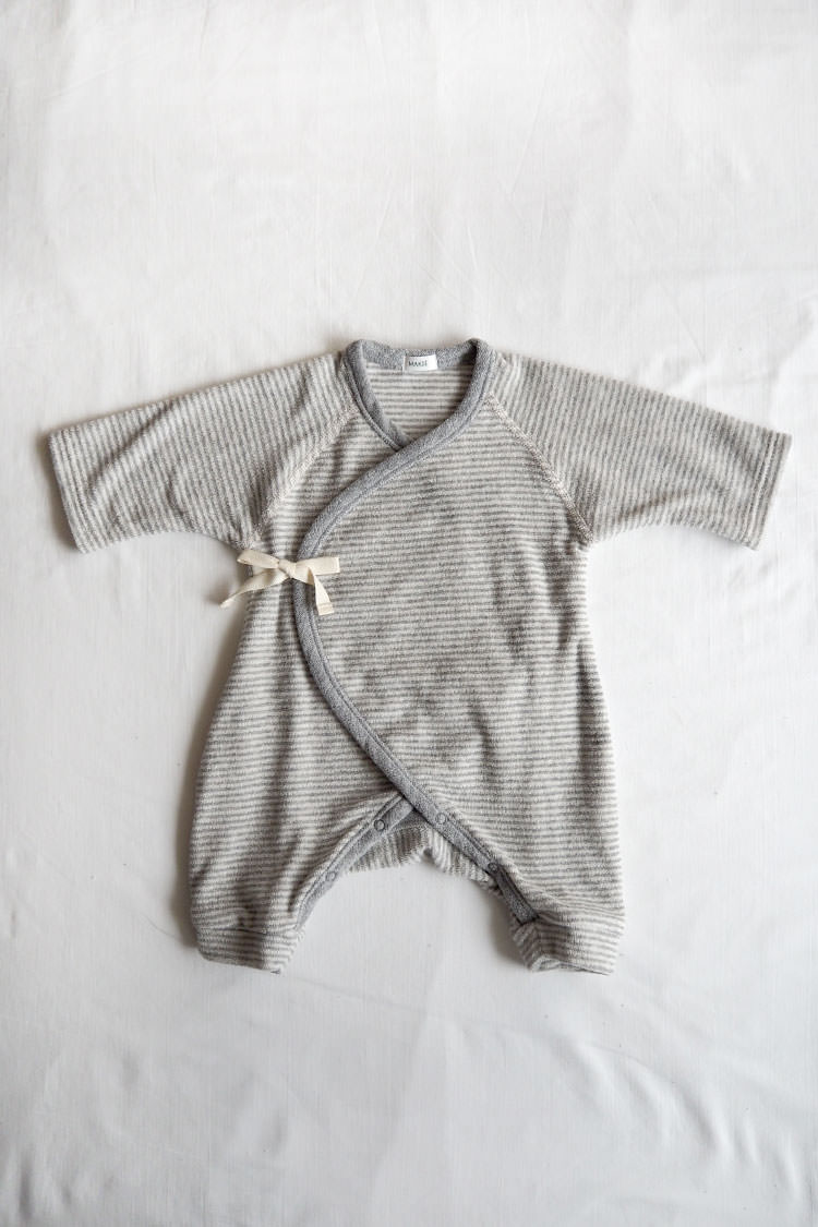 Pile first Hadagi, a gray stripe kimono style wrap onesie