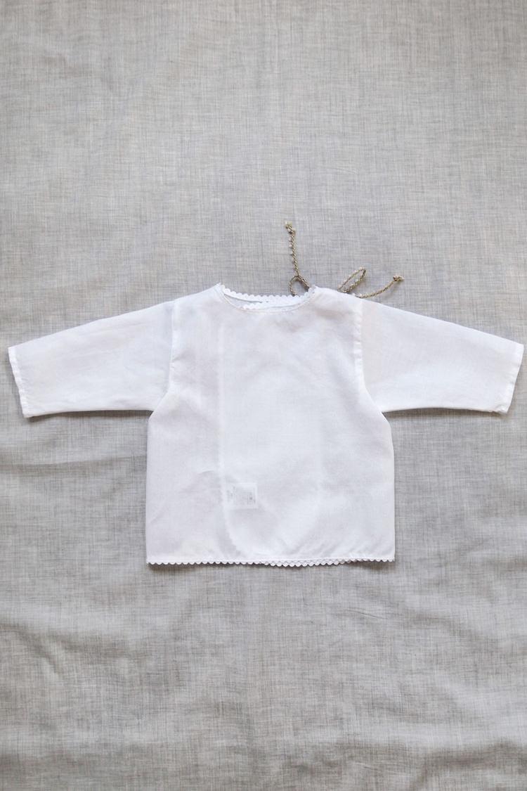 Makie: Swiss Cotton Wrap Blouse - White. Top.