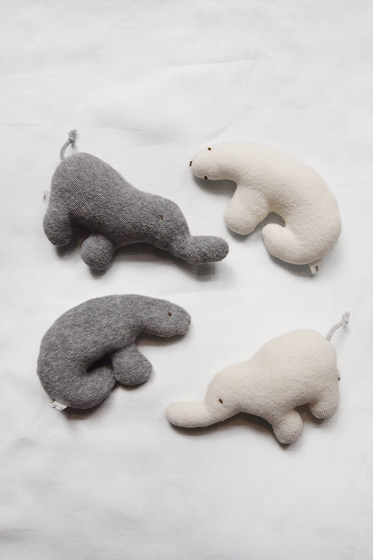 Baby lovey rattle toy, ivory polar bear, ivory elephant, gray bear & gray elephant.