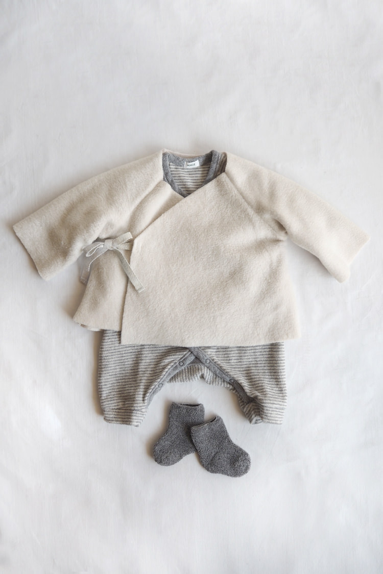 Unisex baby gift box. Baby Set #5 Fleece Kimono Jacket, Cream Top