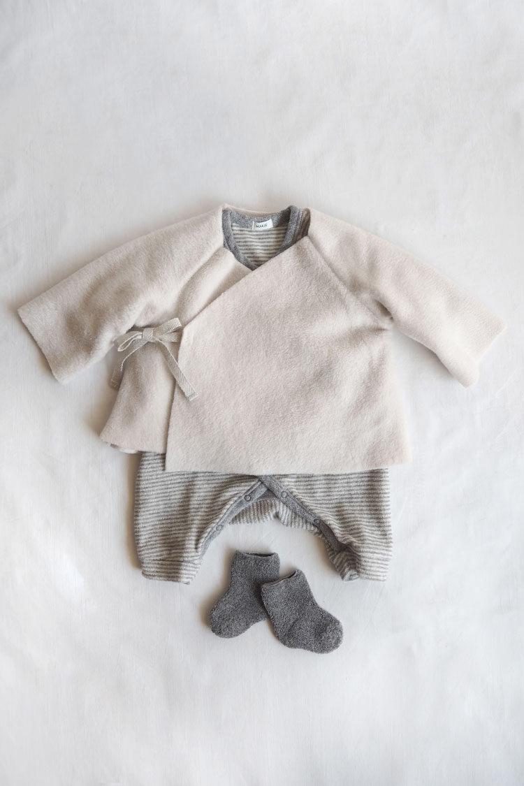 Unisex baby gift box. Baby Set #5 Fleece Kimono Jacket, Cream Top
