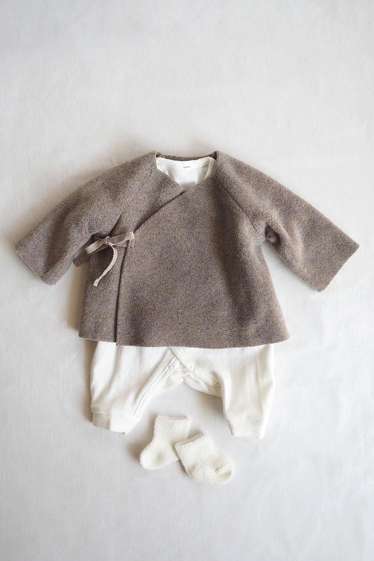 Unisex baby gift box. Baby Set #6 Fleece Kimono Jacket, Beige Top