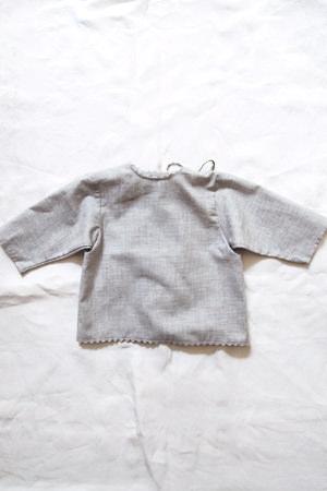 Makie: Luxurious Cotton Wrap Blouse - Gray. Top.