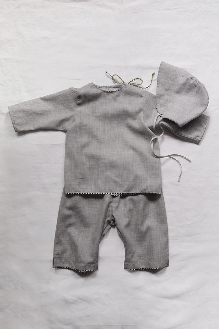 Makie: Baby Set #7 Italian Cotton - Gray. Top.