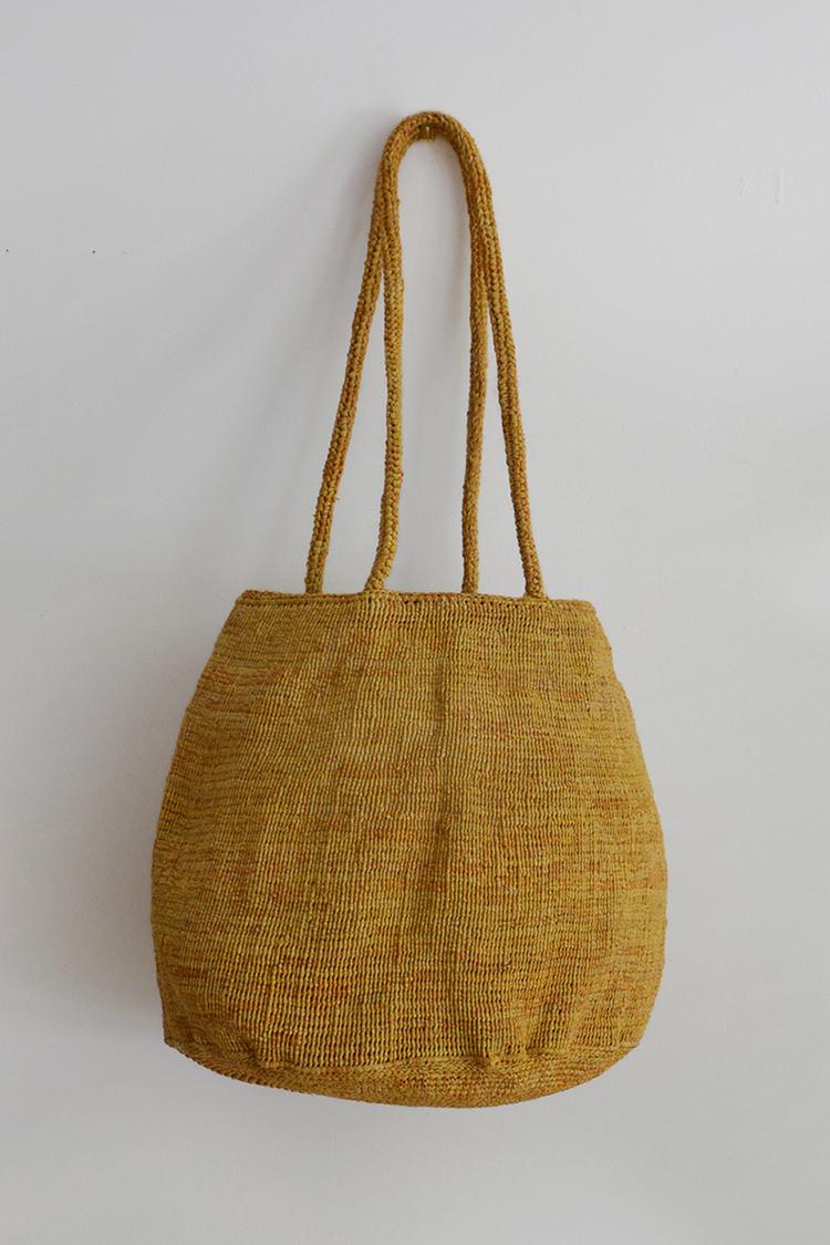 Sophie Digard raffia bag round in light mustard