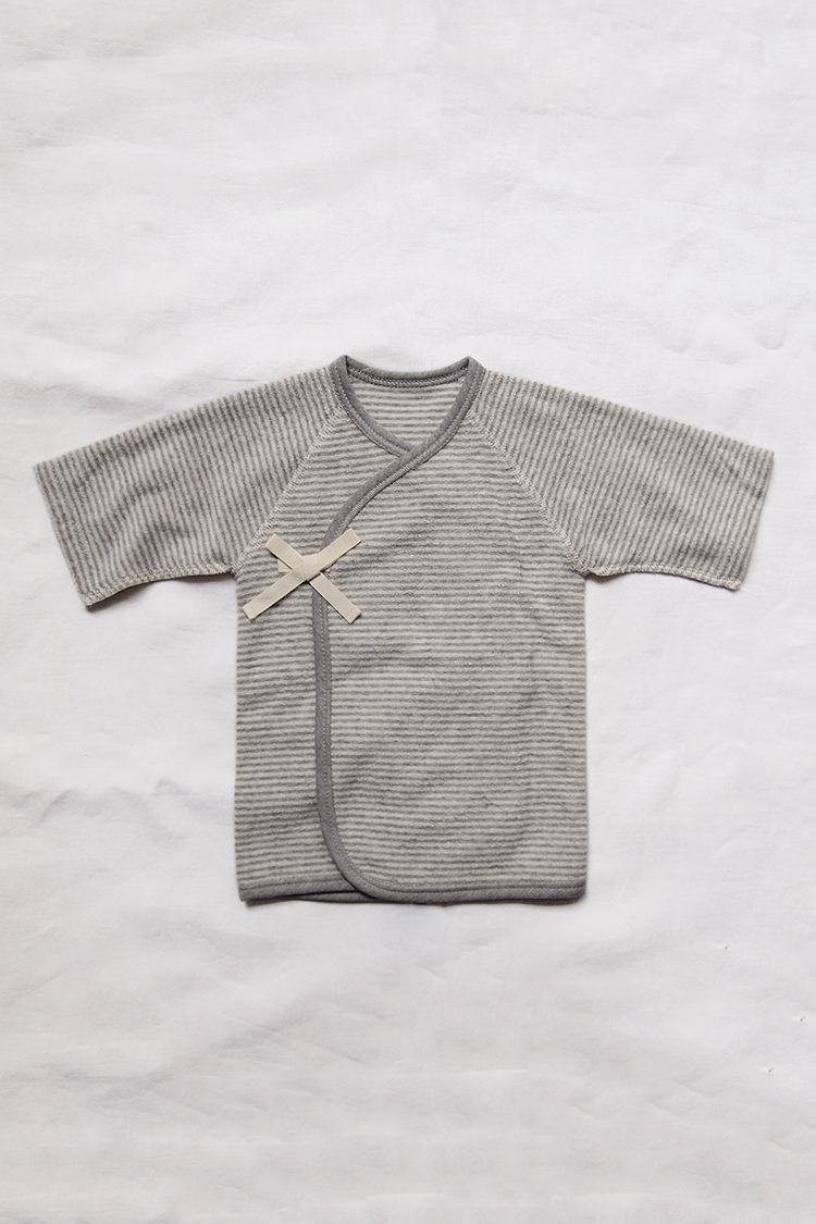 Pile Kimono - Gray Stripe, a unisex half-length baby kimono.