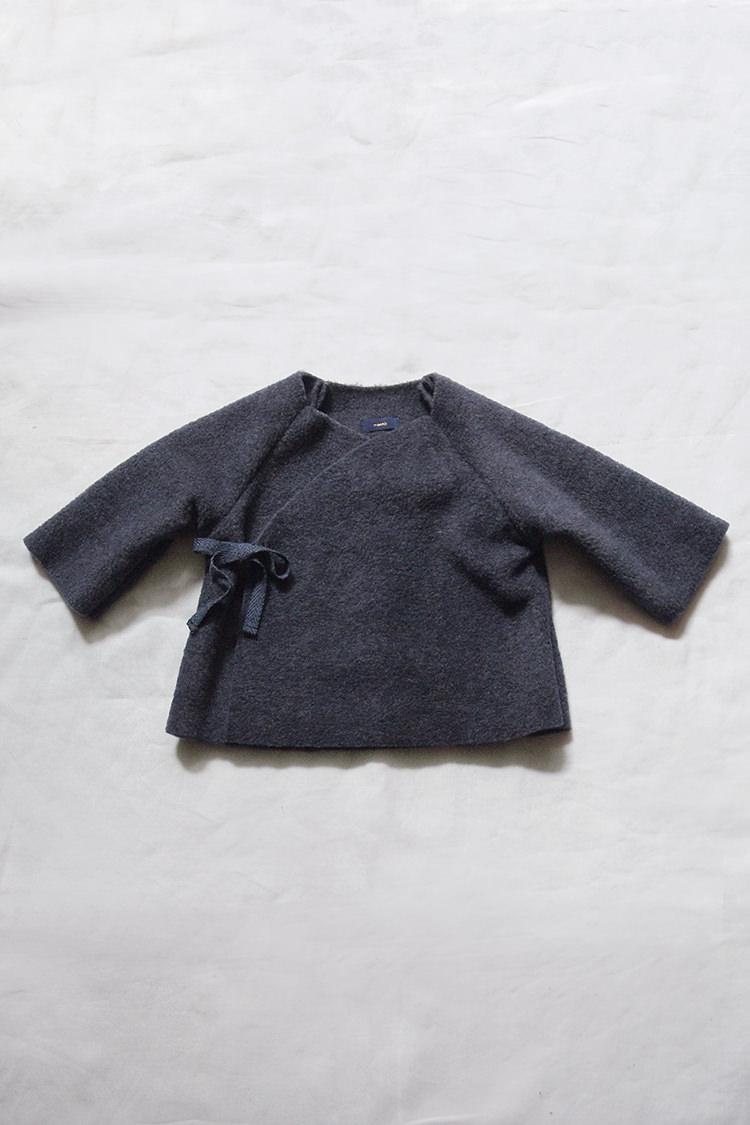 Makie fleece kimono jacket heather navy top