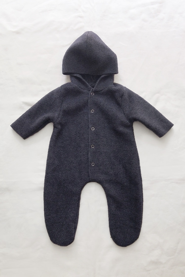 Makie: Fleece Jumpsuit Noel – Heather Navy. one piece hooded baby jumpsuit. Top