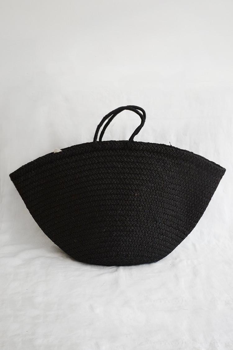 Sophie Digard raffia market bag in black.