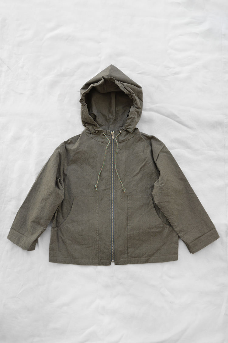 Makie: Hoodie Jacket Spring - Khaki. Full zip Spring jacket for kids. Top