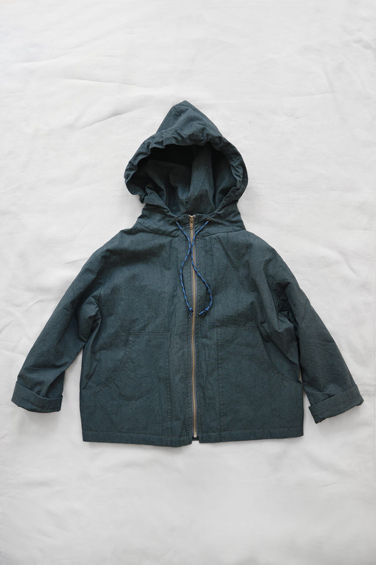 Makie: Hoodie Jacket Spring - Steel Blue. Full zip Spring jacket for kids. Top