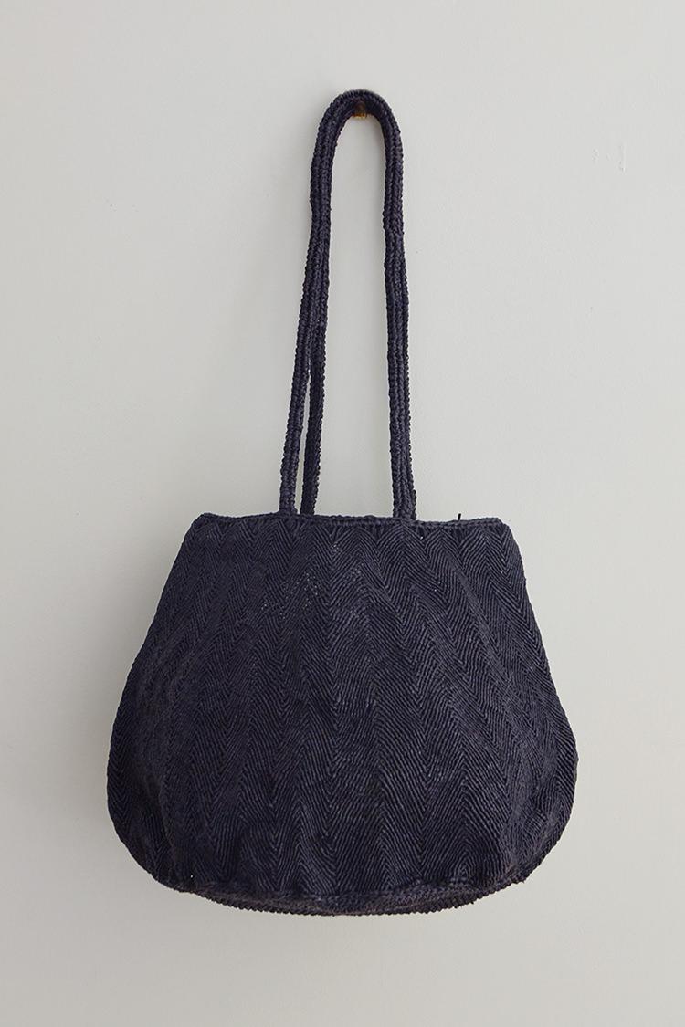 Sophie Digard raffia bag round in navy