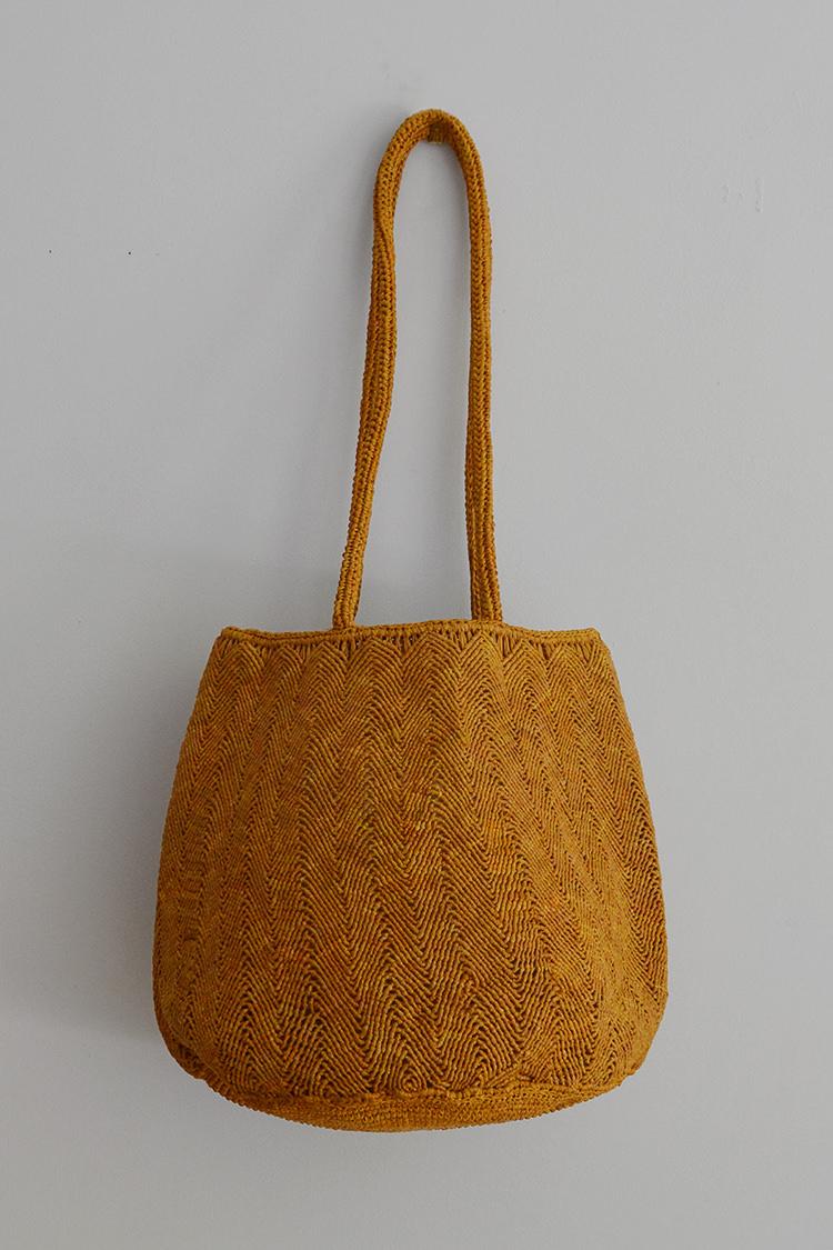 Sophie Digard raffia bag round in mustard
