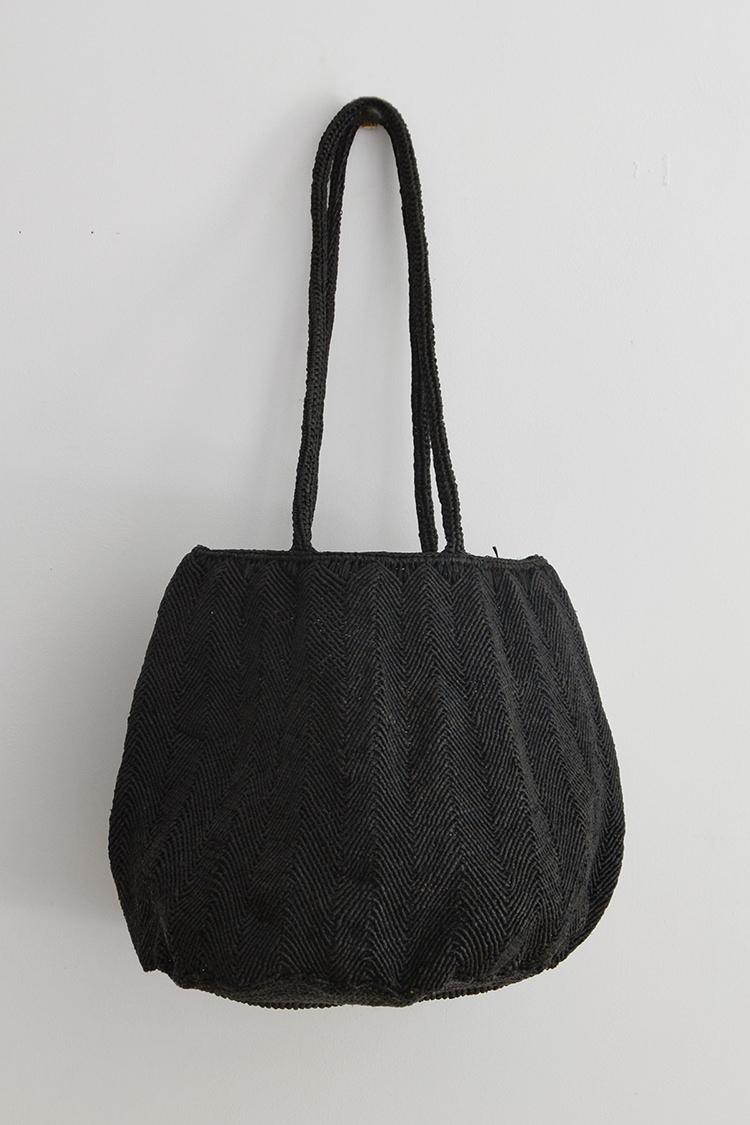 Sophie Digard raffia bag round in black