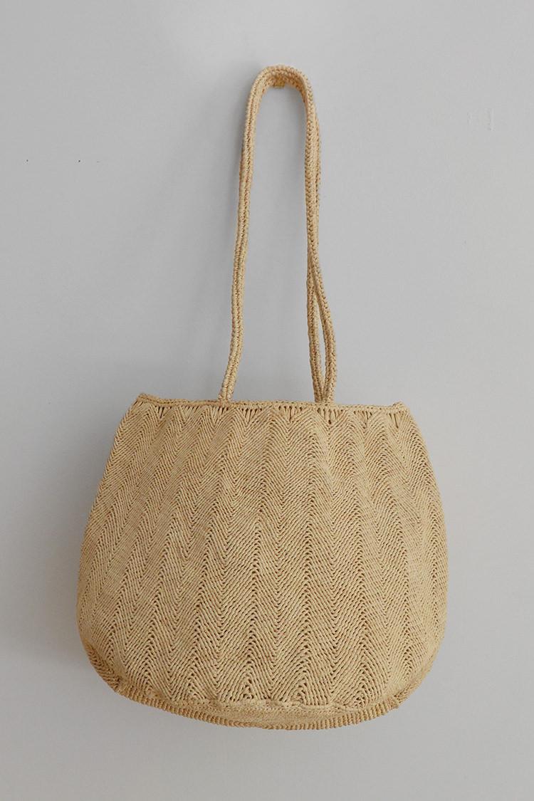 Sophie Digard raffia bag round in natural