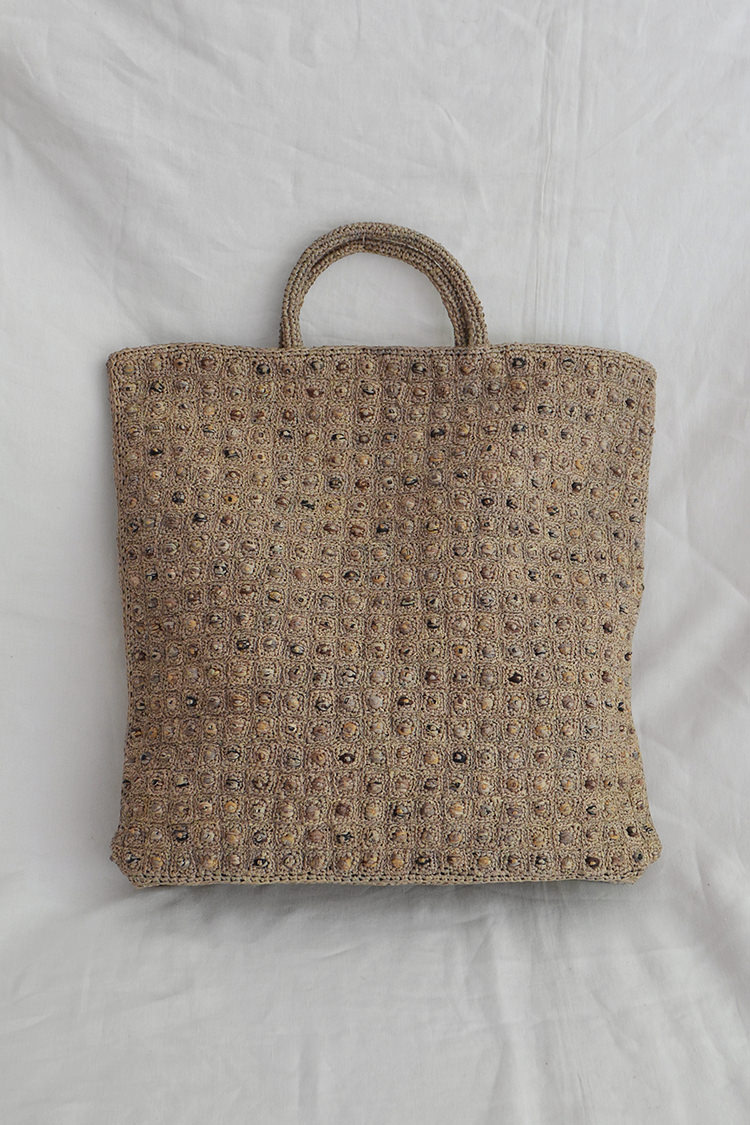Sophie Digard raffia tote bag in sand x graphite