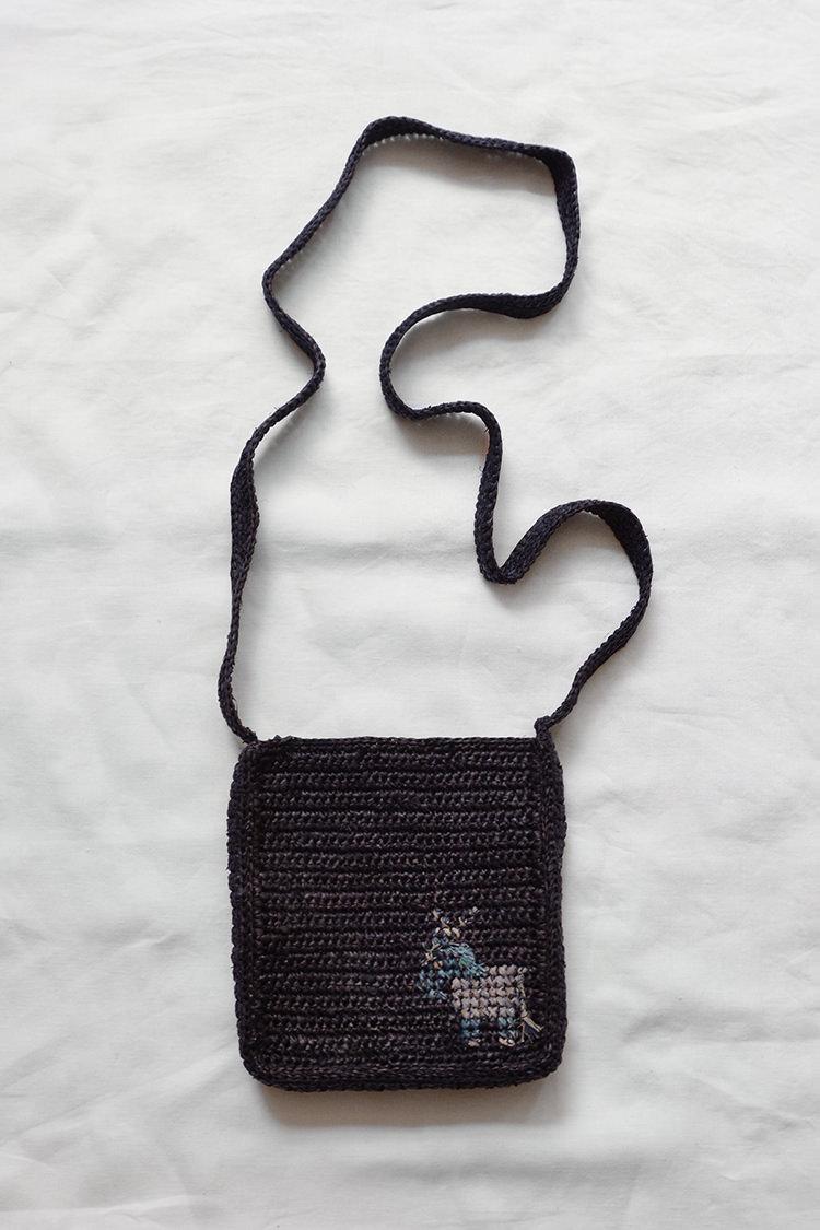 Sophie Digard raffia shoulder bag in navy