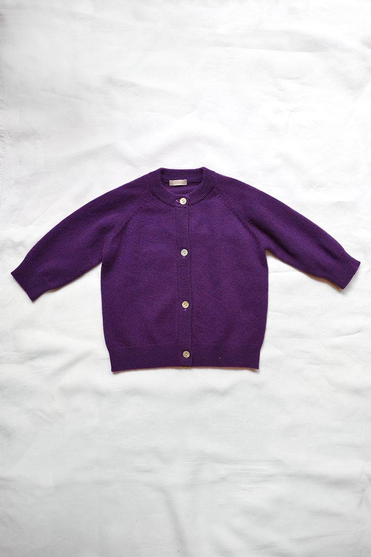 Cashmere Round Neck Cardigan - Purple: Top.