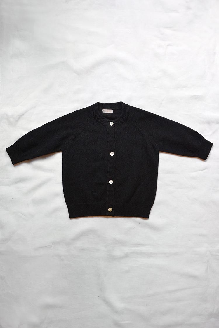 Cashmere Round Neck Cardigan - Black: Top.
