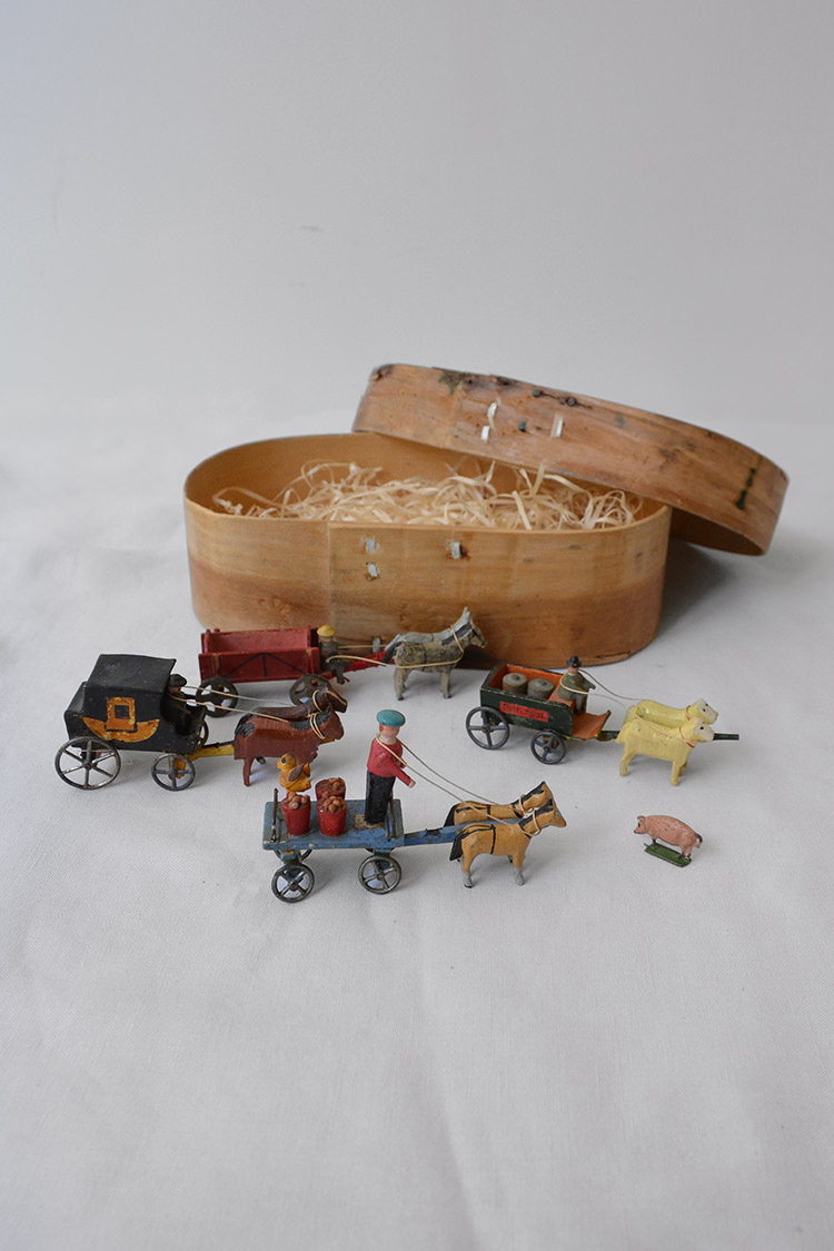 Vintage Miniature Wooden Carriages with a Box