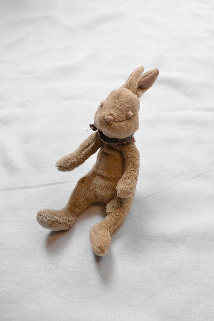 Maileg Bunny, a soft and plush BPA-Free and Lead-Free bunny stuffed animal for the baby. Top.