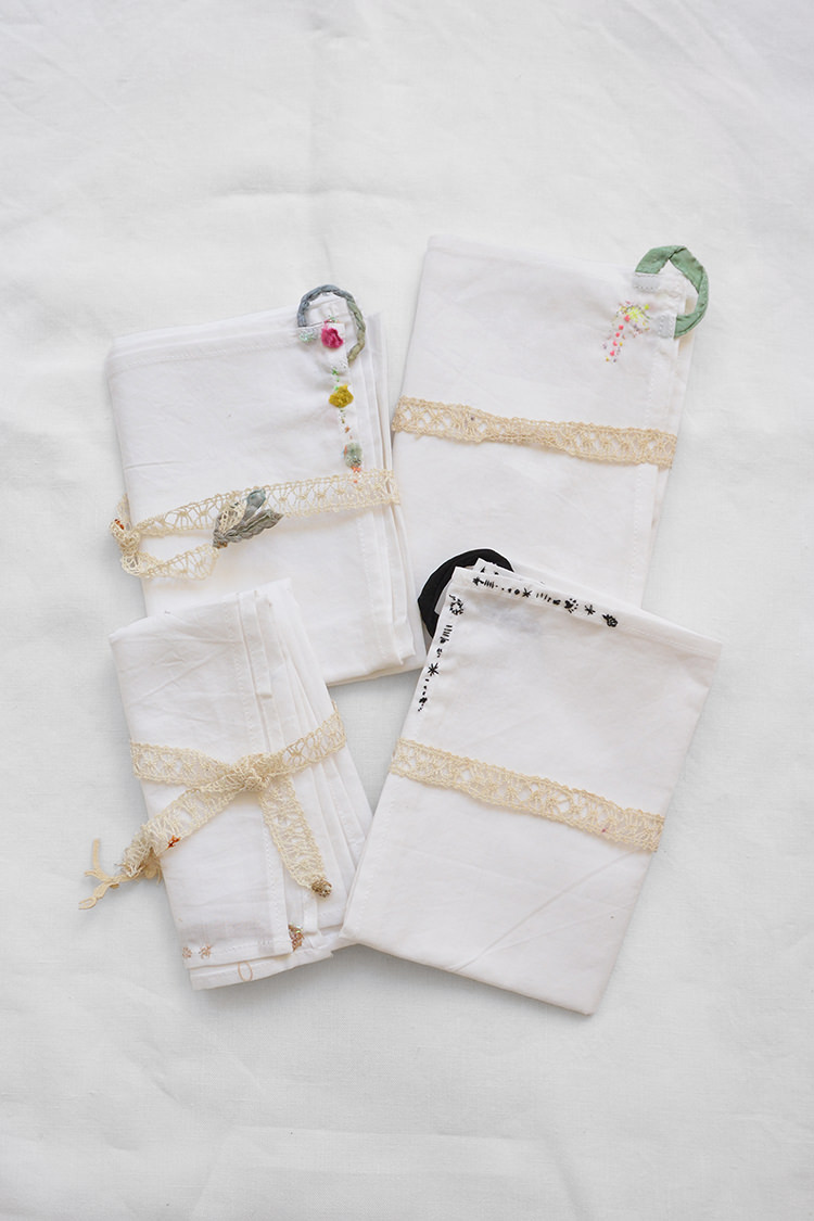 Vintage napkins with hand embroidered accents.
