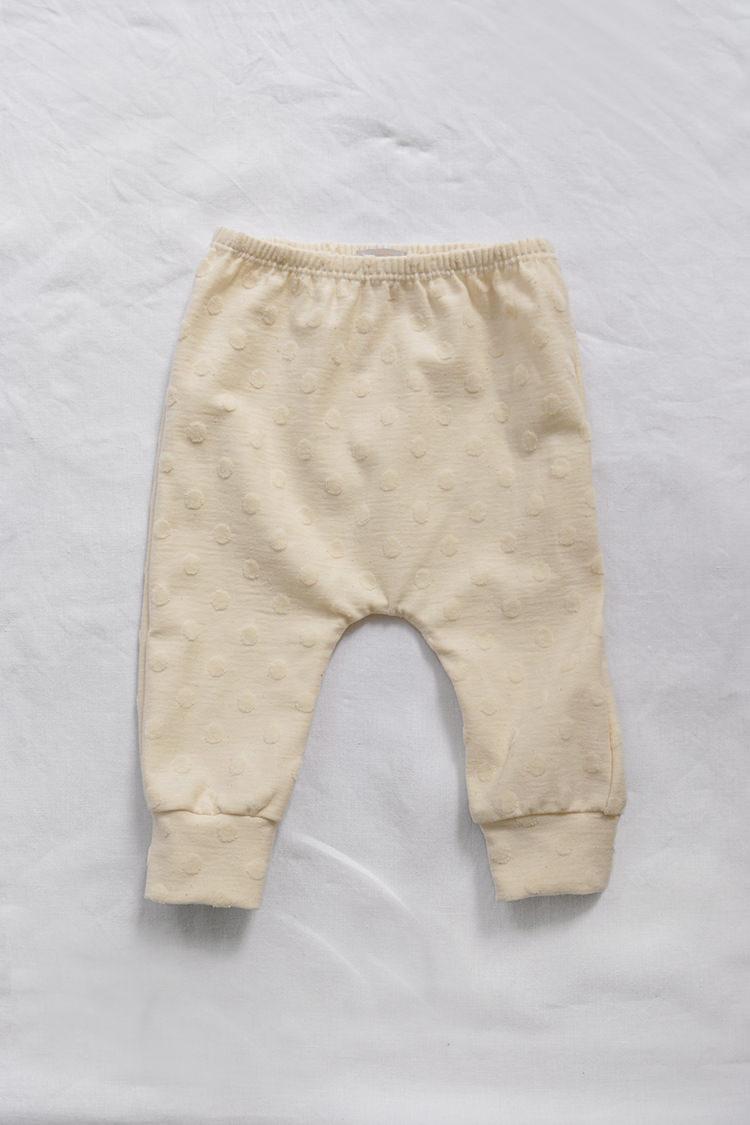 Makie Organic Cotton Pants Mona. GOTS certified organic cotton baby pants - Milk - Top