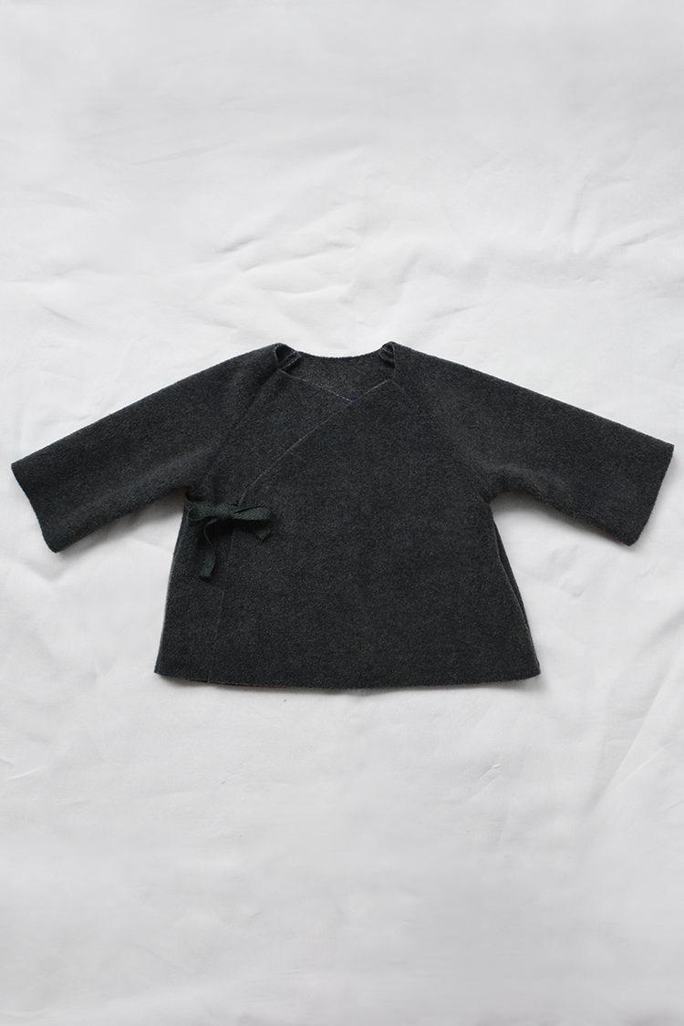 Makie: Fleece Kimono Jacket - Charcoal. Top