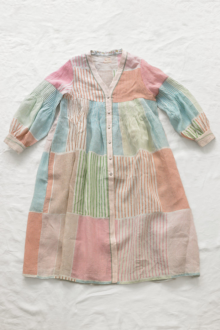 eka multi color patched open dress, made in india