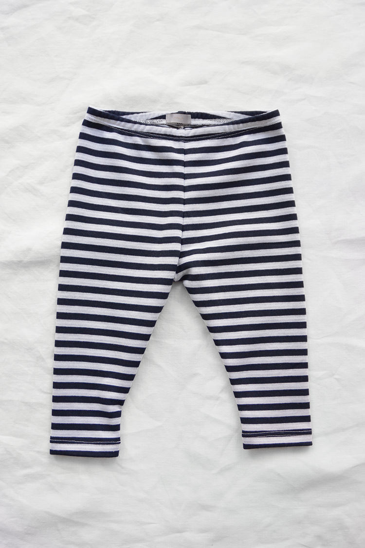 Makie Kid's Pants Navy Stripe. 100% Cotton. Made in USA